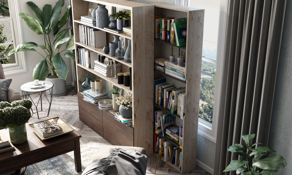 Space saving sliding bookshelf with open shelves and drawers, its a best space saving option for small homes