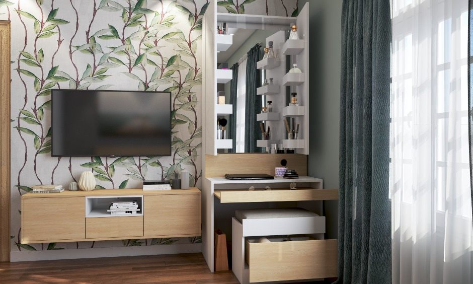 Space saving furniture using dressing table with a hidden dresser is a best space saving design for bedroom