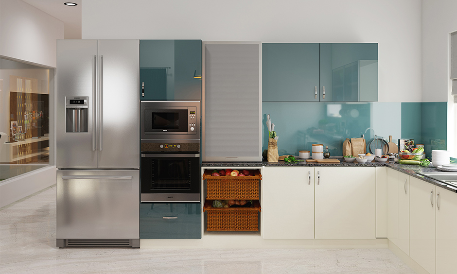 Modern sleek kitchen cabinets built with Corian hutters for easy storage access, and Corian countertop is easy to clean.