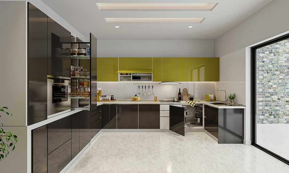 Bold kitchen cabinets that will remind of a bright sunny day and made from yellow lacquered glass easy to maintain.