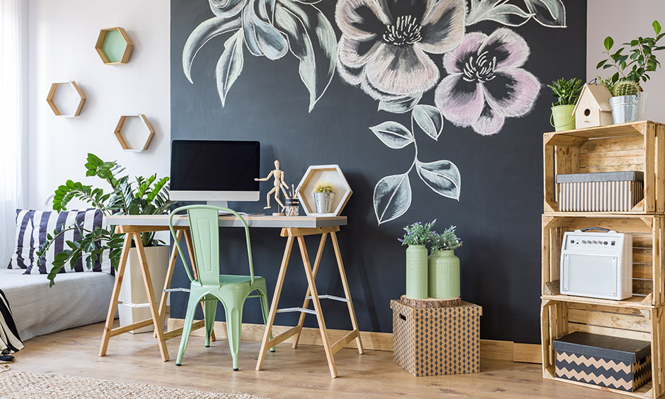 Diy wall art ideas with printed patterns on the wall and install a chalkboard wall and let your creativity run wild