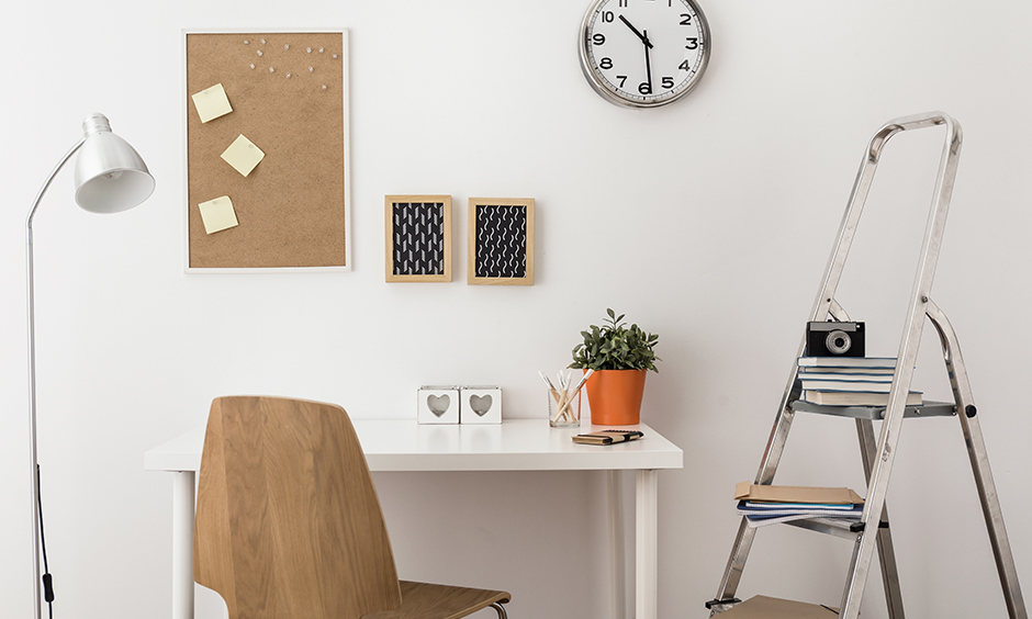 Creative wall art ideas diy to get you organised with bulletin board with accessories like a steel ladder