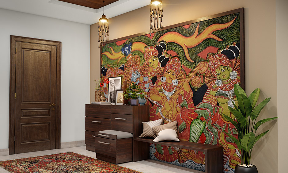 Wallpapers with traditional Indian symbols, motifs from mythology add an Indian traditional interior design touch.