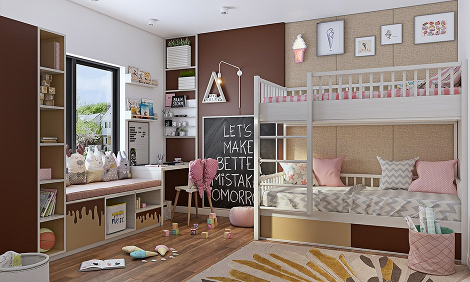 Girls bedroom colours with light pink and brown makes a beautiful girls bedroom