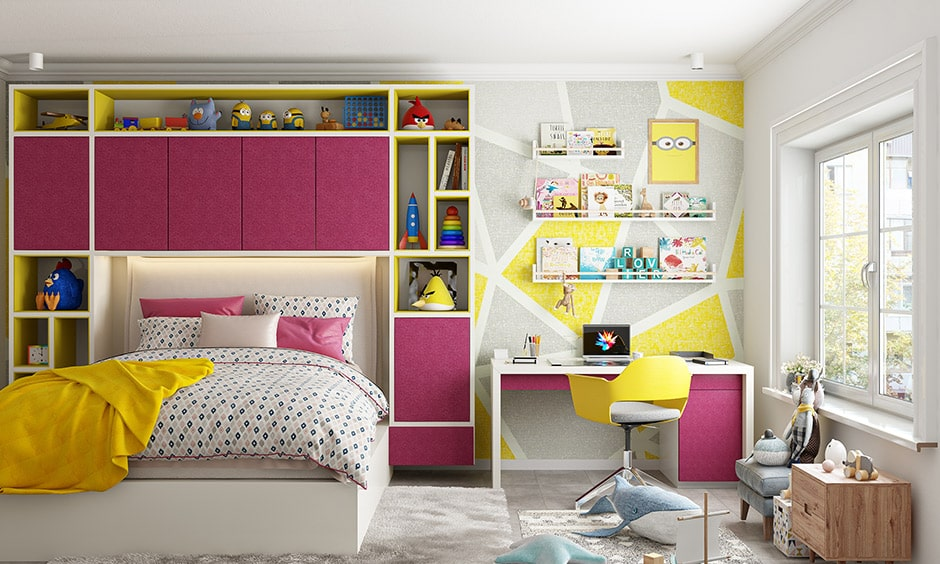 Kids bedroom colors yellow and magenta is a best paint colour combination for kids bedroom