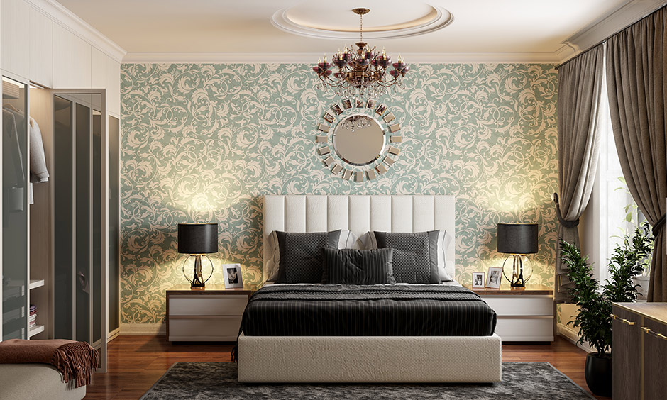 Tropical green bedroom wallpaper is an easy and affordable solution to include green in your bedroom.