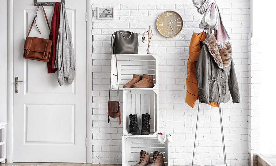 DIY shoe rack design ideas all you need is fruit crates, nails or adhesive and some spray paint.