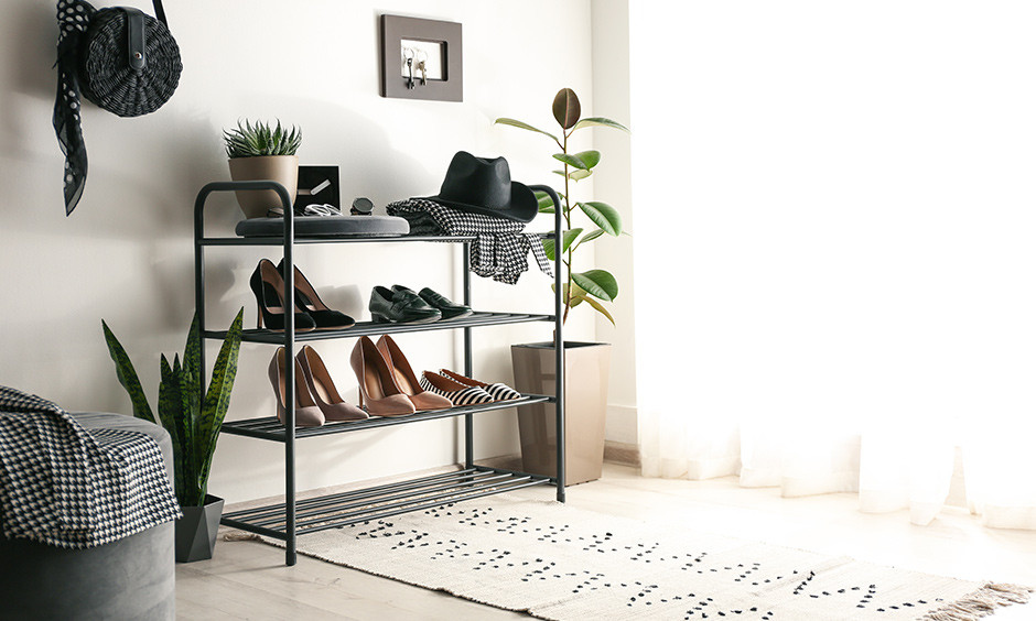 Want simple shoe rack design then choose industrial pipe shoe rack budget-friendly and readily available in different sizes.