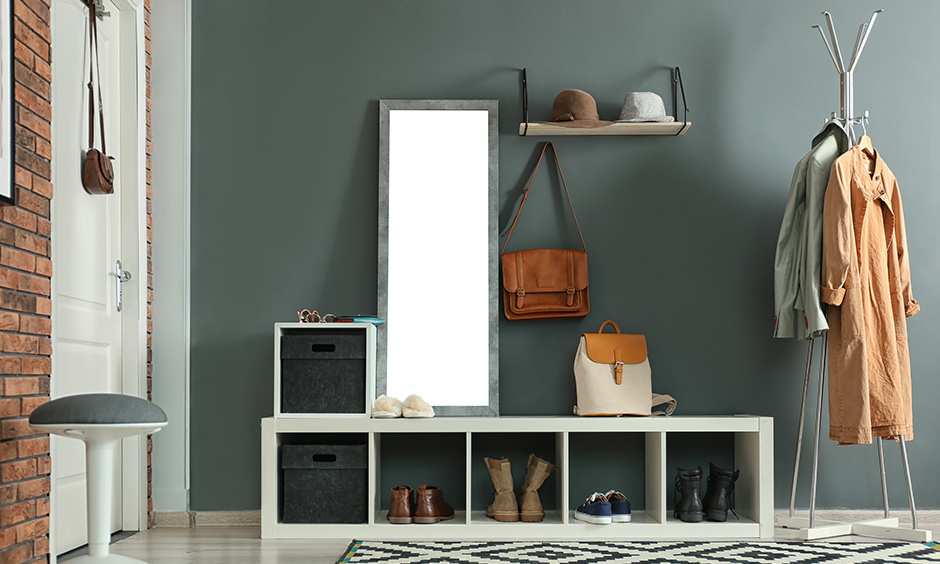 Modern open boxed shoe rack design with frame mirror is fun, and functional design can fit just right in your foyer area