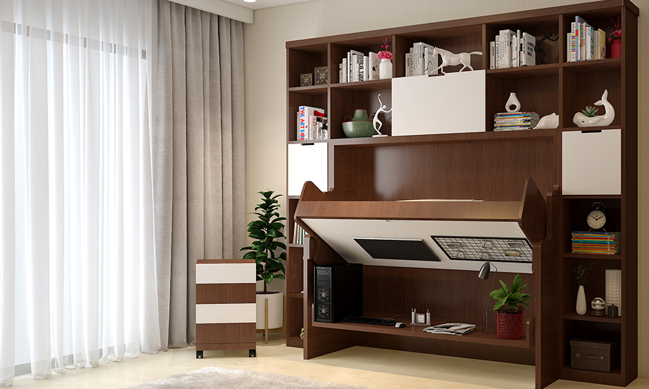 A home office foldable desk with a rotating or a sliding desk adds extra workspace