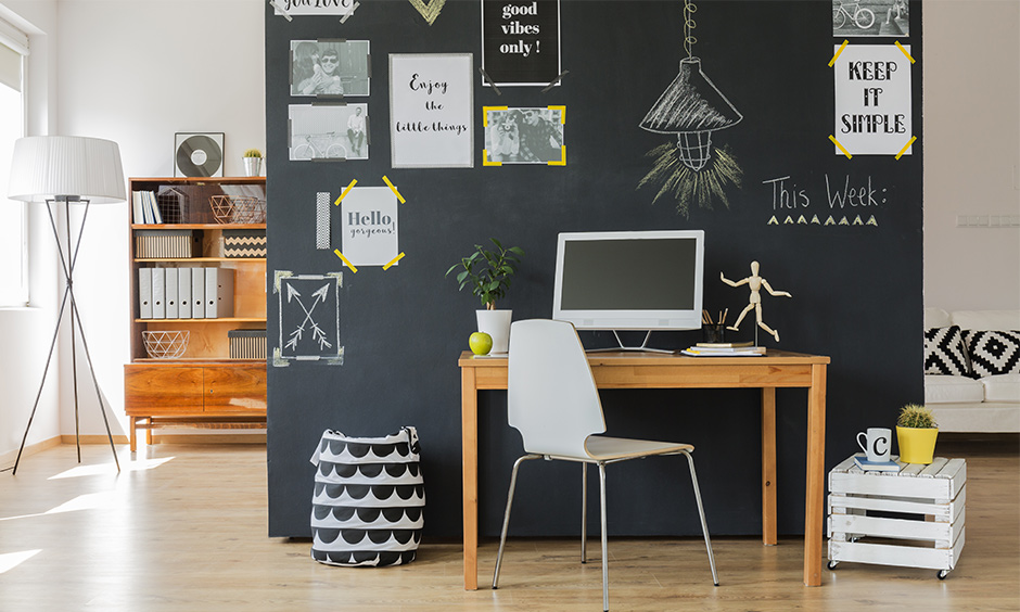 Home office desks online with chalkboard wall and dual desk functionality