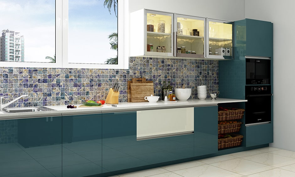 Glass kitchen cabinet doors in aqua blue kitchen design for easy to access and clean