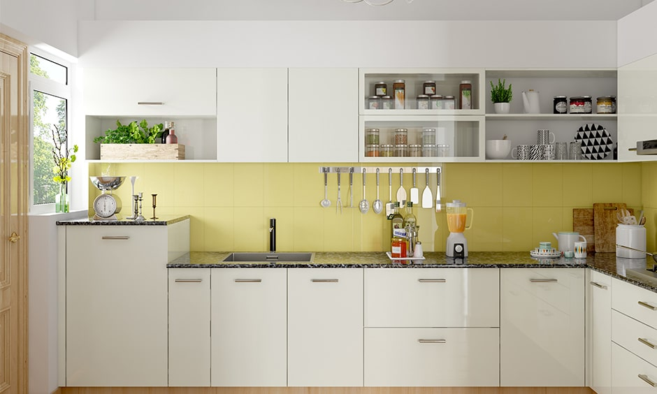 Kitchen cabinet glass design in yellow and white modern kitchen