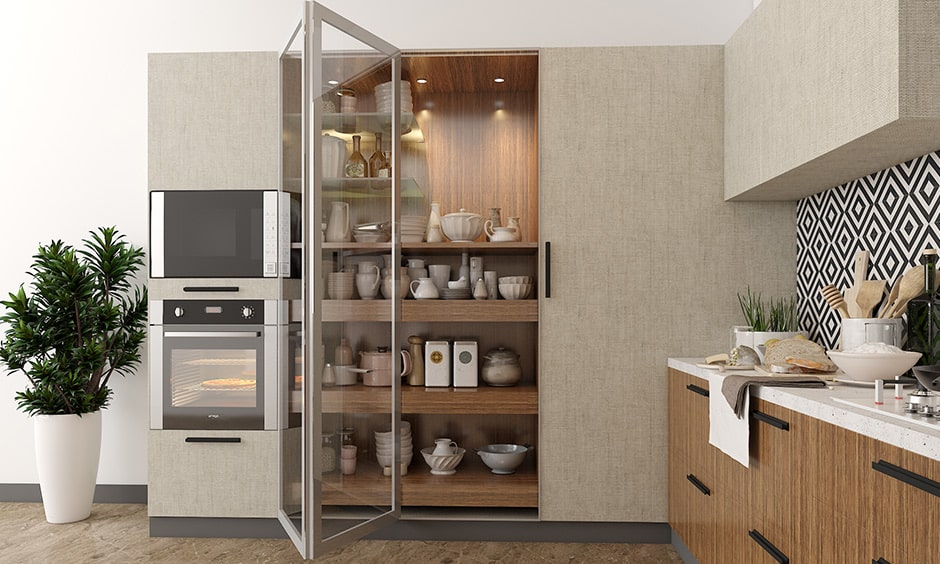Glass kitchen cabinets with tall unit to storage for your best collection of crockery