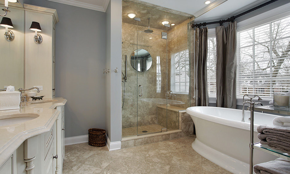 Glass wall panel in a modern bathroom is an excellent choice that brings sophistication and refinement to bathroom interior design.