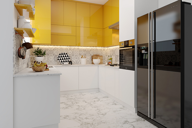 U shaped kitchen designs with open cabinets in high gloss laminate with white and yellow colour combination