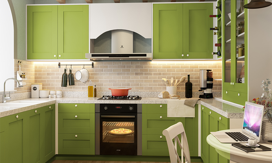 Bright u shaped modular kitchen design with a very flexible layout