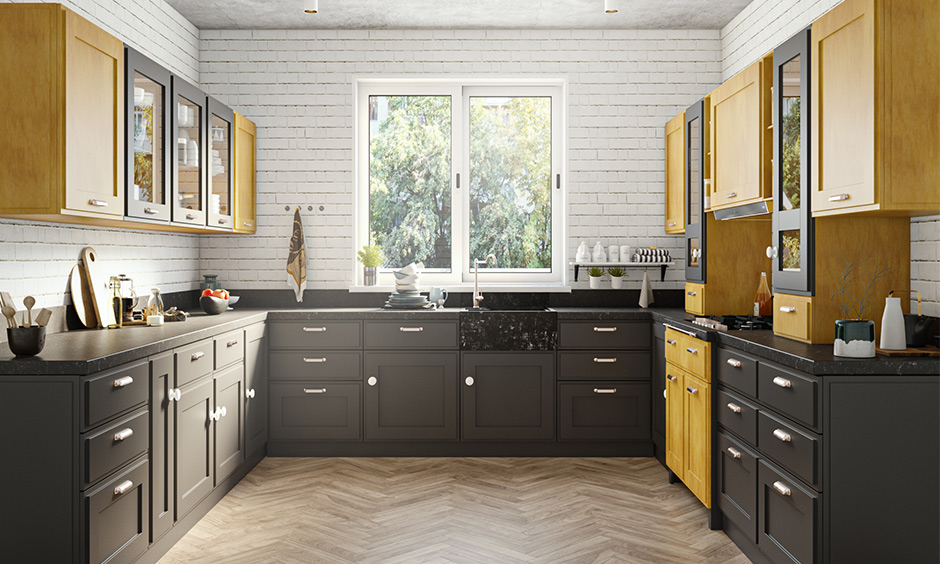U shaped kitchen ideas with luxurious matte finishes of the cabinets and shelves and wooden floor finish