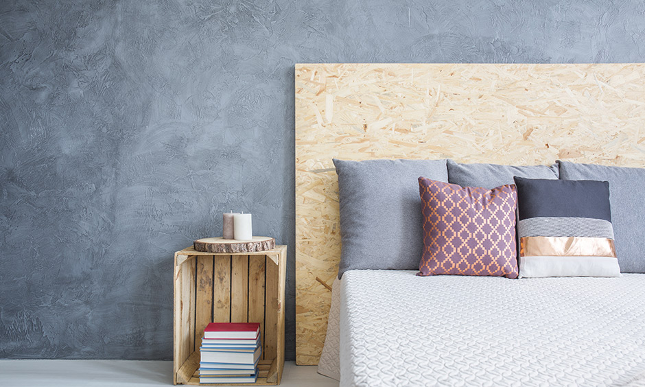DIY bedroom furniture plans, light-coloured plywood and an old fruit crate to make a side table for matching headboard.