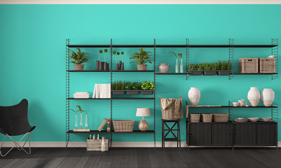 To make shelf DIY furniture, you need grills, a couple of wooden planks, some adhesive, nails and a drilling machine.