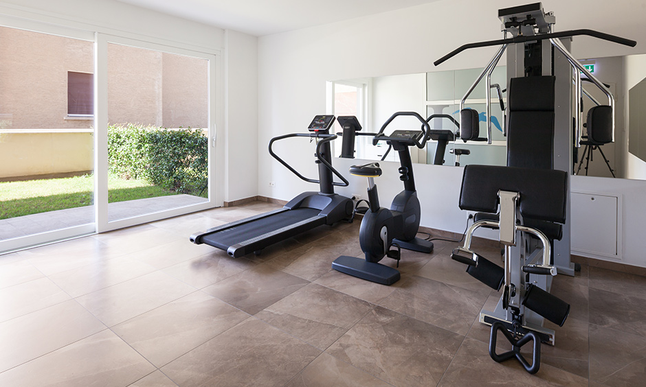 Basement converted into a home gym room, it is a best home gym design idea