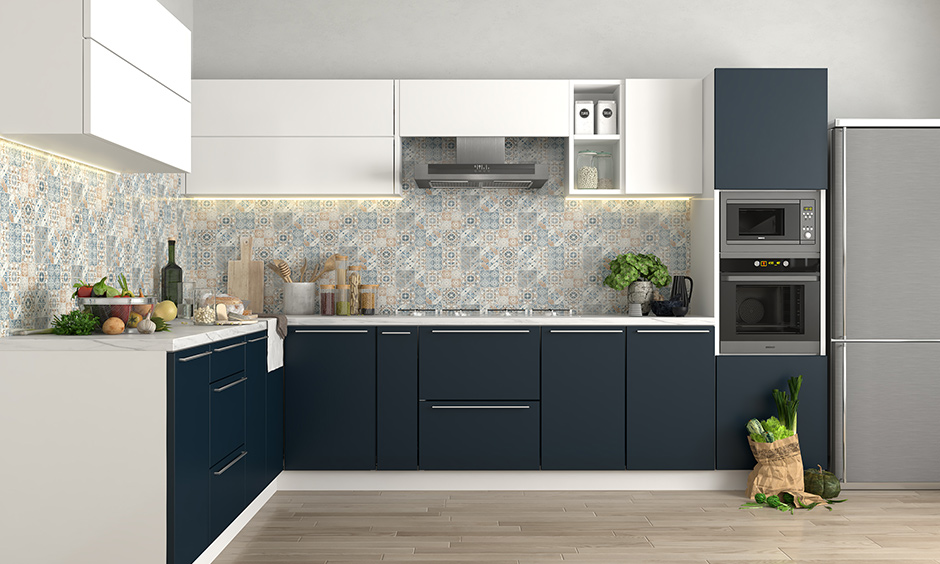 Low cost modular kitchen design with base modules with shelves and plain drawers