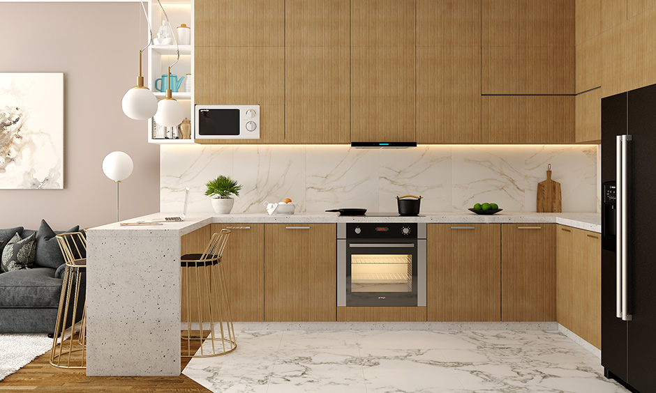 Low cost kitchen base cabinets in a wood laminate finish with open shelf storage