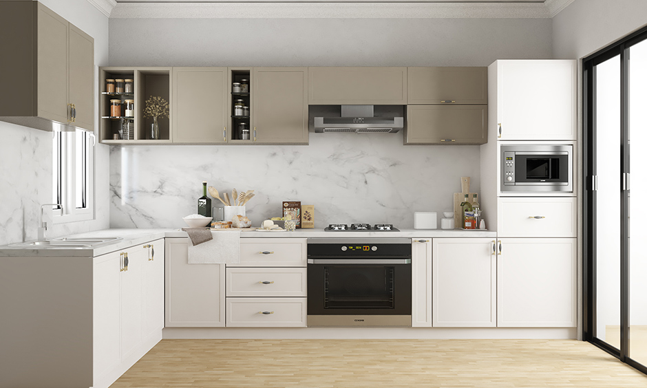 l shaped modern classic low cost modular kitchen design with a tall unit, tandem drawers, and a lot of shelves and cabinets