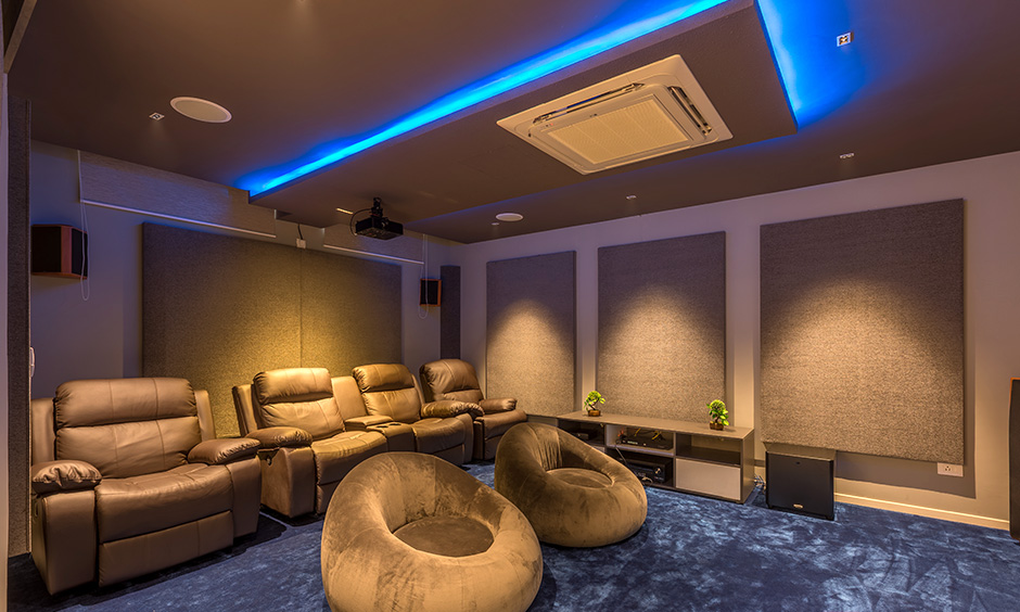 Types of false ceiling materials with various types of lights used in a eclectic design