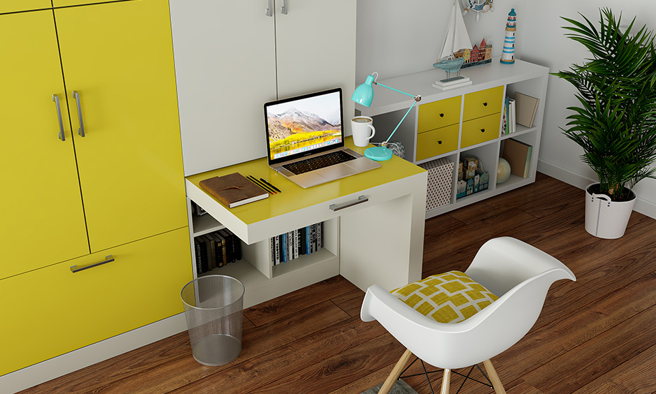 A wardrobe with a study unit is a multipurpose furniture for small indian homes