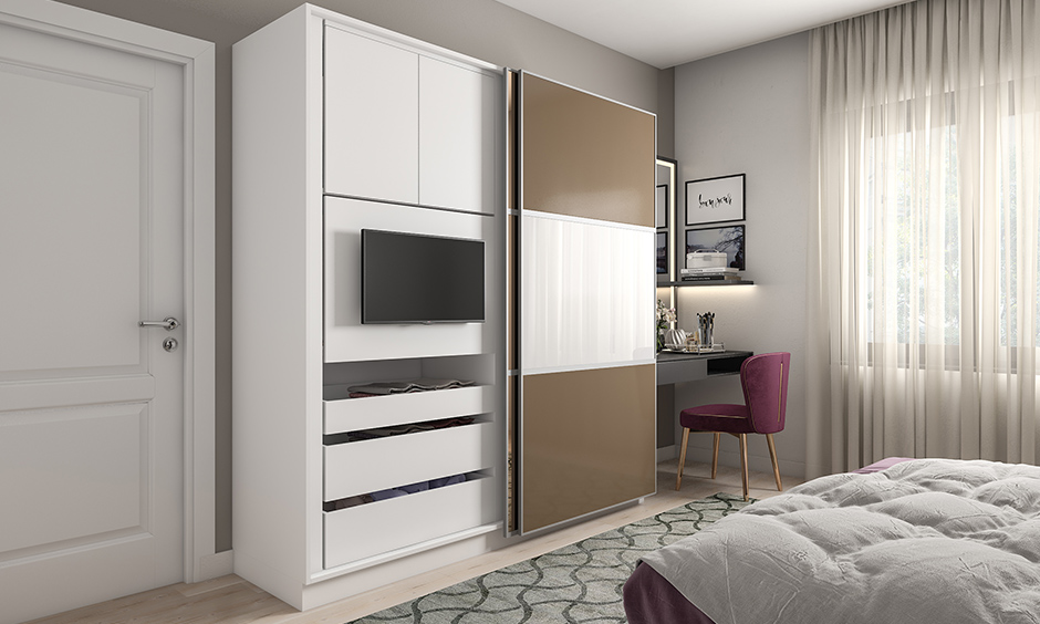 Multipurpose furniture images, wardrobe with a built-in tv unit is the perfect space saving solution for small homes