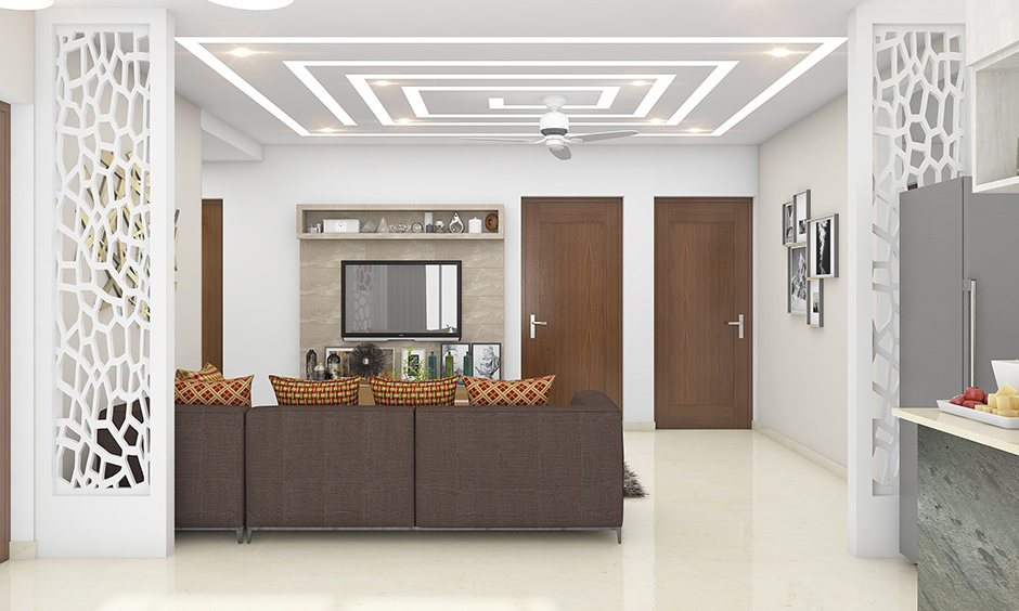 Types of false ceiling in india with recessed lights and cove lighting