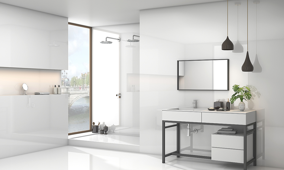 Modern white bathroom side table designs with drawers can help keep your magazines, shampoo and towels within easy reach.