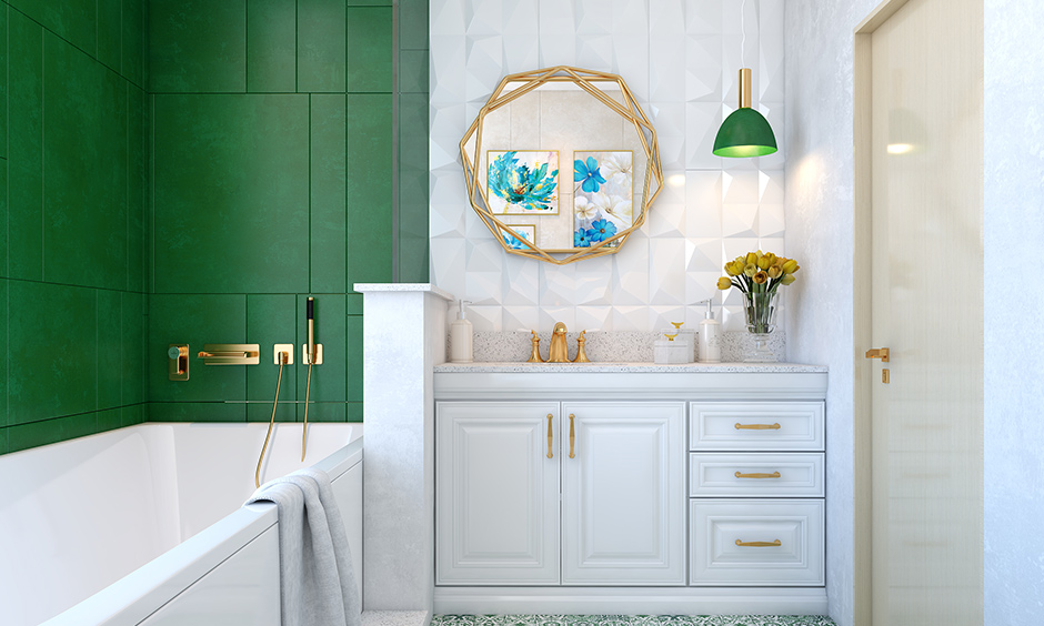 White cabinet & drawer under bathroom sink storage can store both essential and non-essential items with clutter-free.