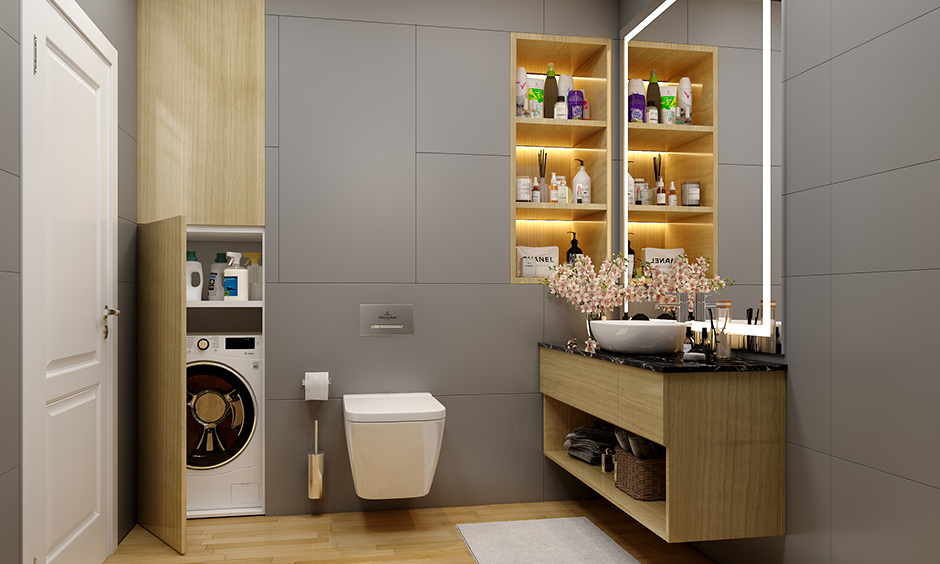 Bathroom vanity unit with cabinets under sink storage will help you store cleaning, bathing products, neatly & hidden manner.