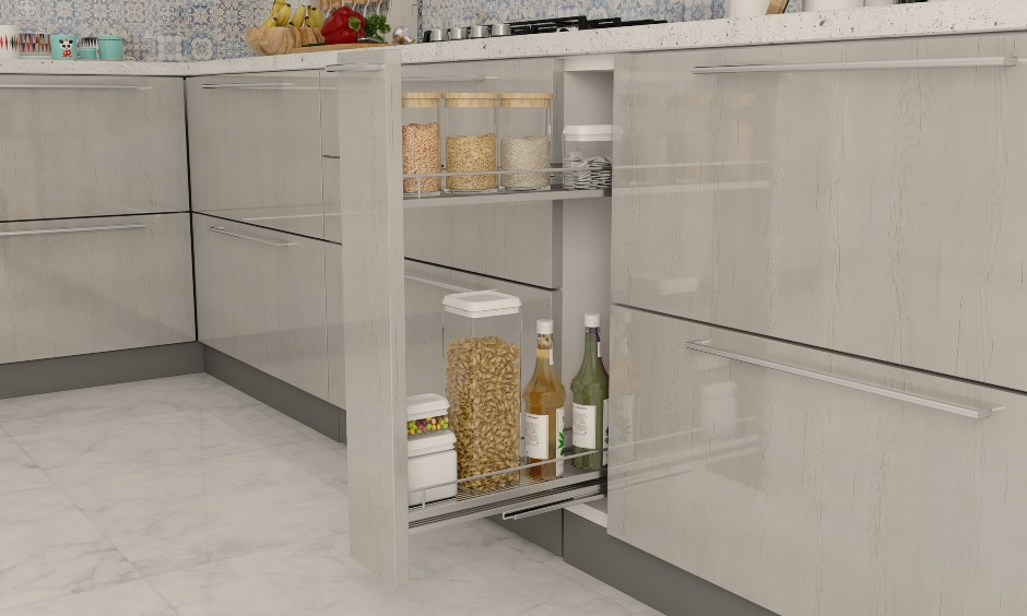 Oil pull out in a l shaped modular kitchen interiors for innovative storage solutions in small kitchens