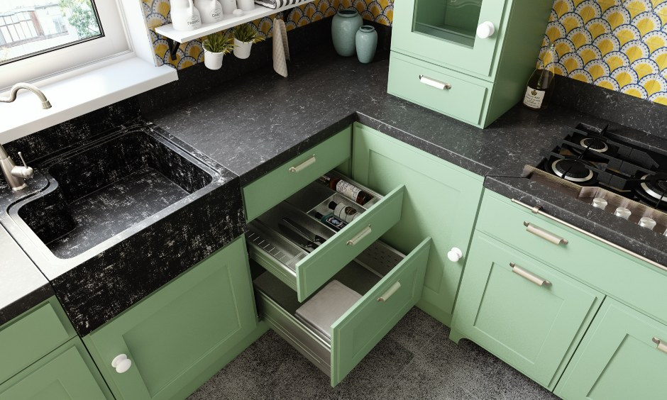 U shaped classic kitchen design with an inbuilt cutlery tray in the drawer for indian modular kitchen