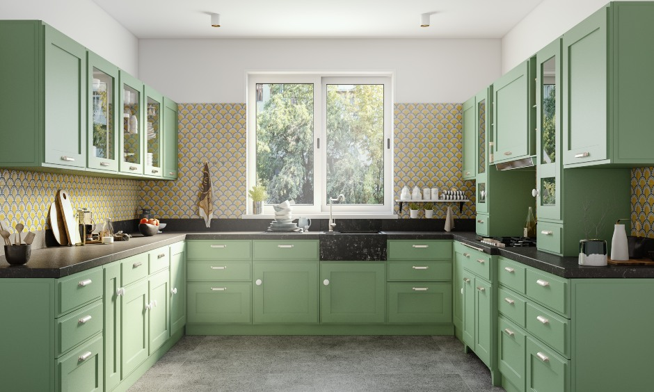Green u-shaped classic styled modular kitchen design with latest kitchen design