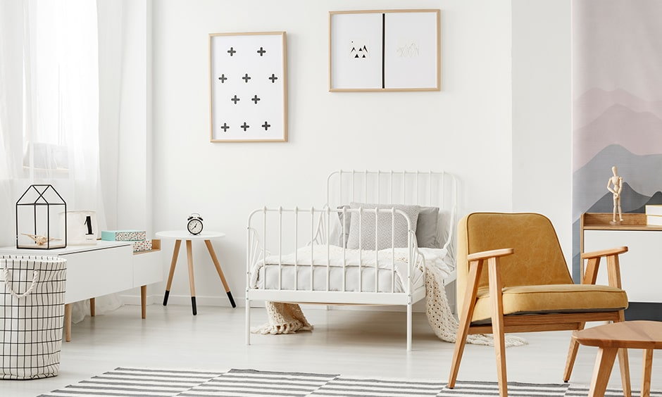 Modern minimalist kids bedroom design with the abstract wall art and decor pieces