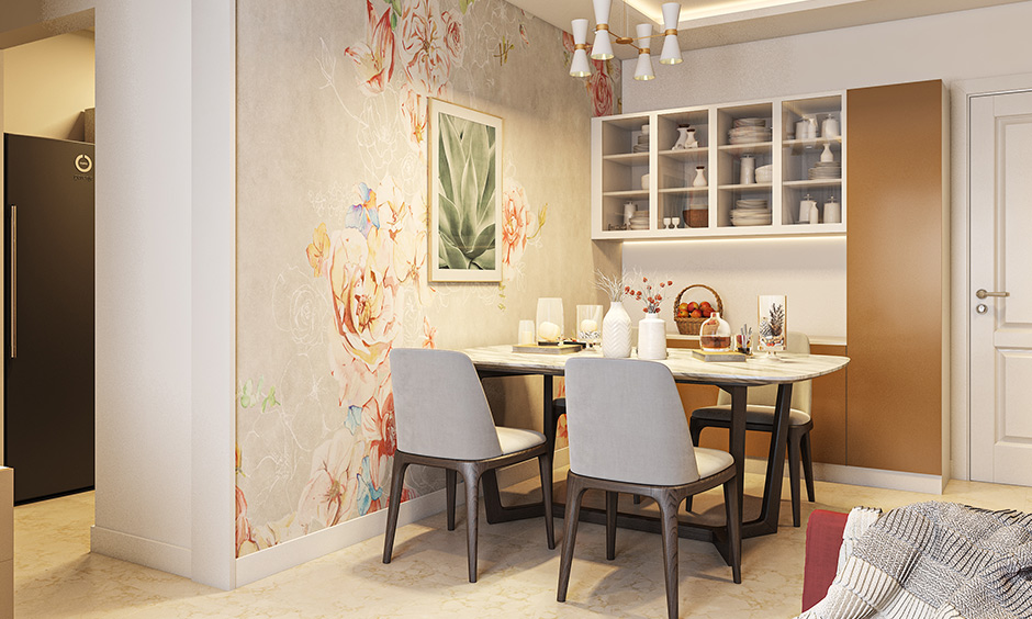 Dining room wallpaper looks for sleek patterns as these wallpapers reflect maximum light if your room has dark walls.