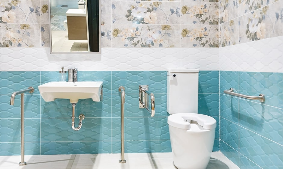 Floral printed tiles brings elegance look to elderly friendly bathroom
