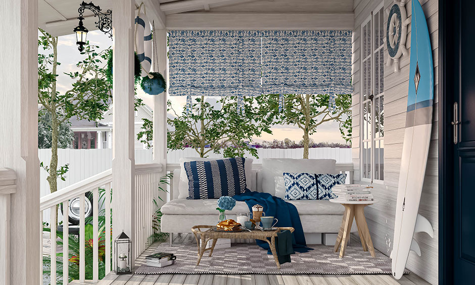 House with front porch theme up of your dreams and passion like this white and blue nautical themed porch lends a beachy vibe