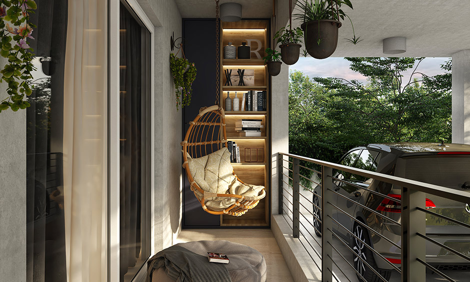 Porch design for small house add comfortable pouffe, a built-in rack, a swing, indoor plants for a luxe look