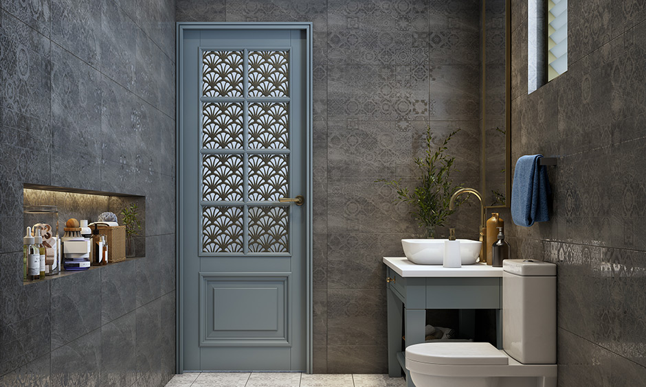 Designer modern bathroom door design with stained glass and attractive design