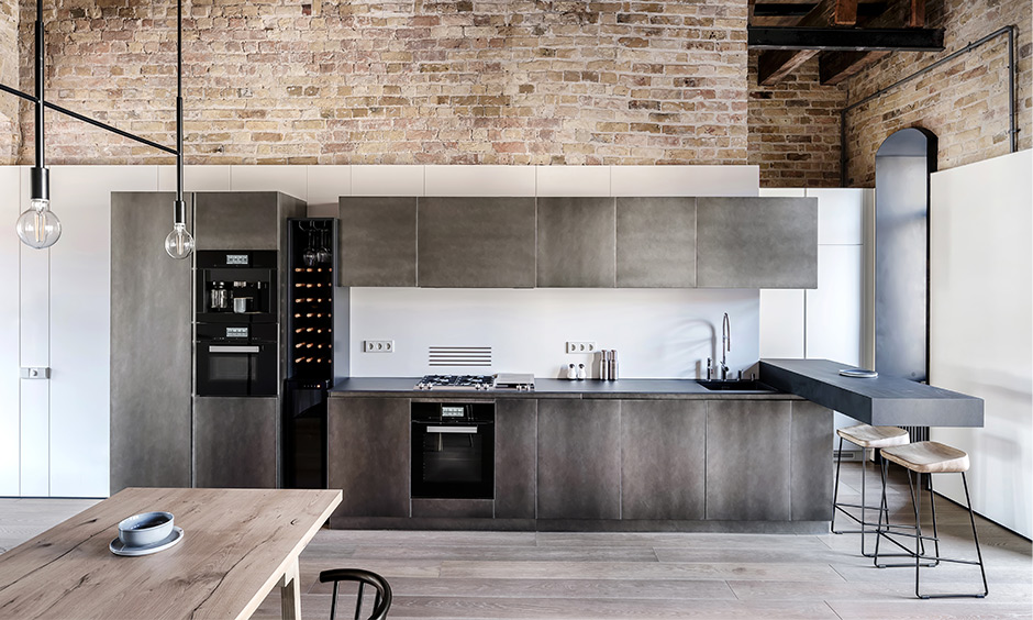 Kitchen decor with rustic wall decor which is texture with exposed bricks