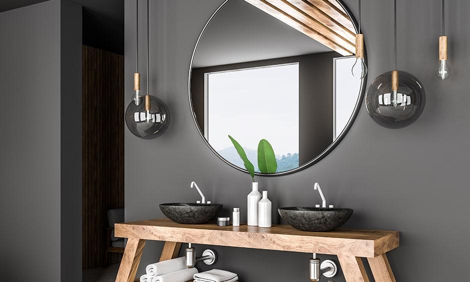 Bathroom mirrors with an avante garde mirror transforms a simple bathroom into a piece of art