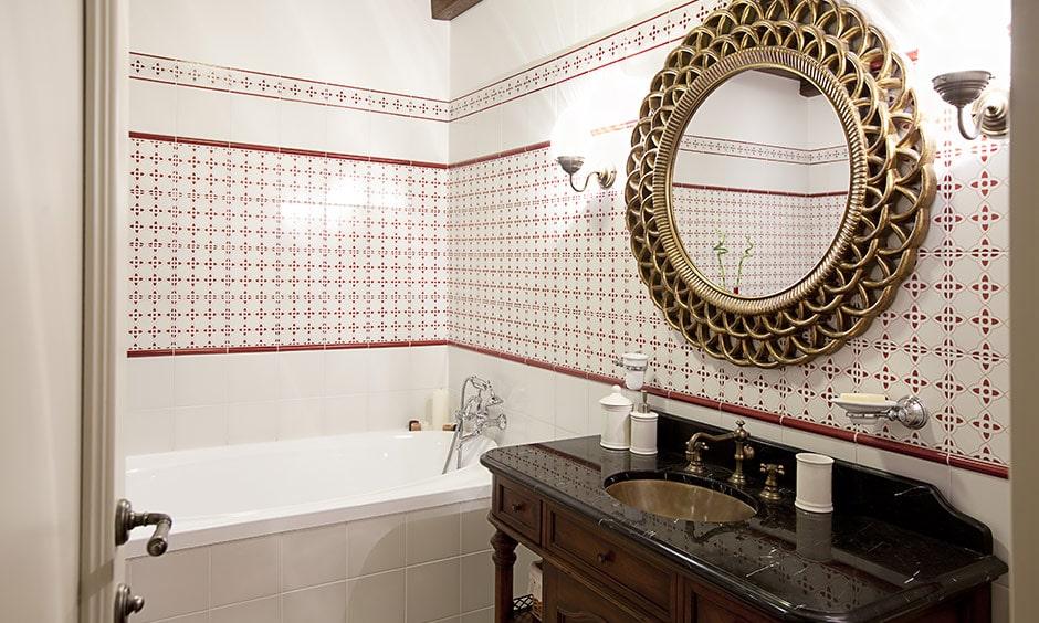 Bathroom washroom mirrors with a statement mirror to create a regal bathroom