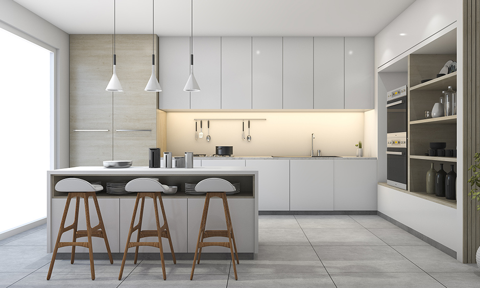 Kitchen decor ideas with minimalistic kitchen with indoor plants and chic lamps
