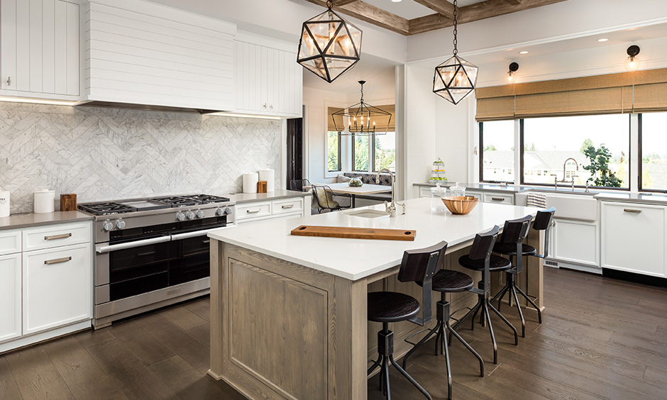 kitchen decoration image with wooden ceiling with a pair of metal pendant lights