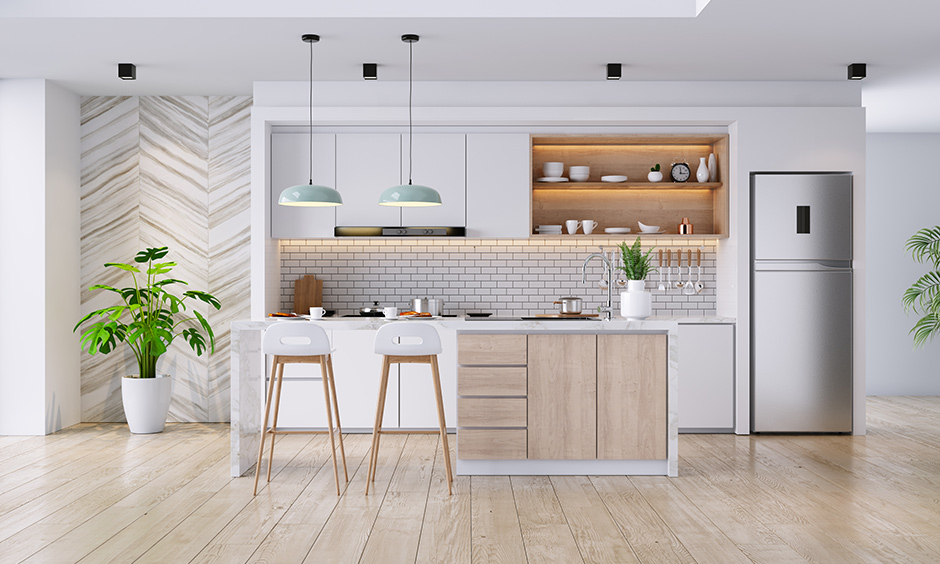 Small kitchen decorating ideas with open spaces and shelves with contemporary kitchen decor
